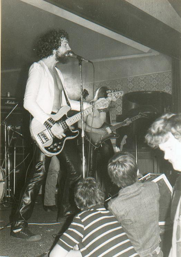 Kazz on bass in his first band Concrete, 1980